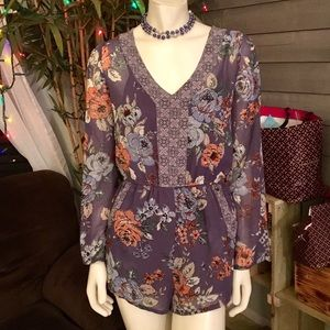 O'Neil Purple Floral Crochet Accented Romper S